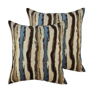 Sherry Kline Waves Blue Brown 20-inch Throw Pillows (Set of 2)