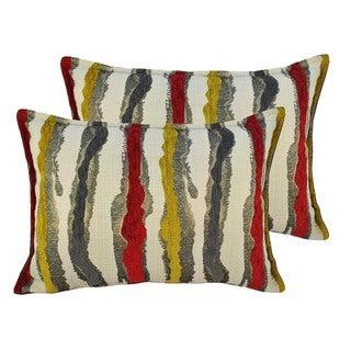 Sherry Kline Waves Yellow Red Boudoir Throw Pillows (Set of 2)