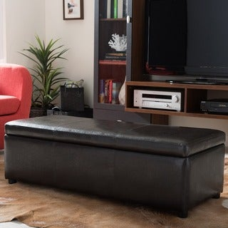 Baxton Studio Dennehy Bonded Leather Storage Bench Ottoman in Dark Brown