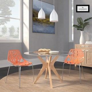 Somette Asbury Modern Orange/ Chrome Dining Chairs (Set of 2)