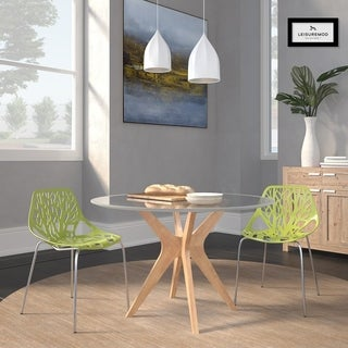 Somette Asbury Modern Green/ Chrome Dining Chairs (Set of 2)