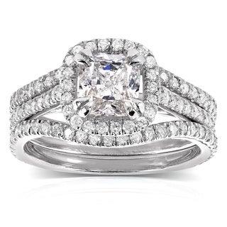 Annello 14k White Gold 1 3/4ct TDW Cushion-cut Halo Diamond 3-piece Bridal Set (H-I, I1-I2)