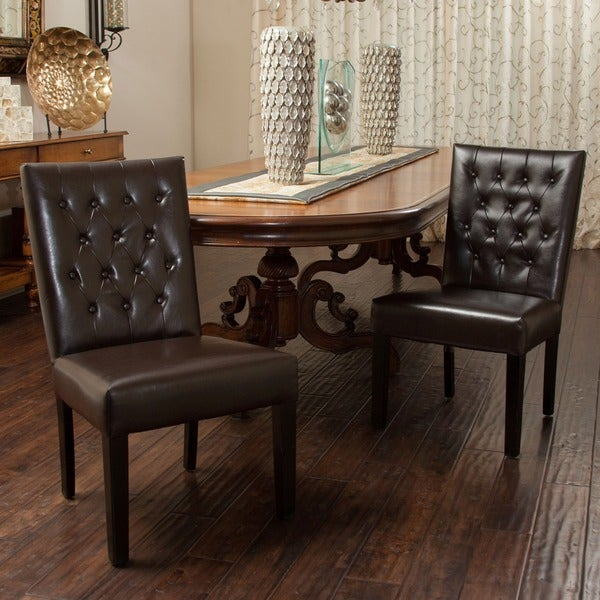 Christopher Knight Home Lola Leather Dining Chair Set Of 2 Overstock Shopping Great Deals