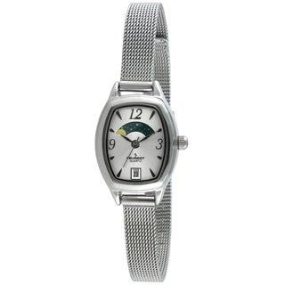 Peugeot Women's 712S Silvertone Mesh Bracelet Moon Watch