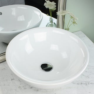 Highpoint Collection 17 Inch Round White Vessel Sink with Drain Combo