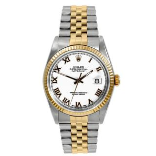 Pre-owned Rolex Men's Datejust Two-tone White Dial Automatic Watch