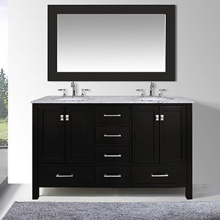 60-inch Malibu Espresso Double Sink Bathroom Vanity Cabinet With 59-inch Mirror