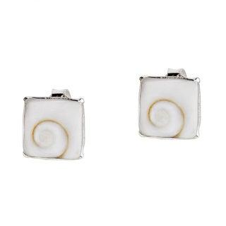 8mm Square Swirl Shiva Shell .925 Silver Stud Earrings (Thailand)