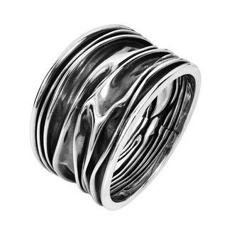 Ocean Waves .925 Sterling Silver Handmade Ring (Thailand)