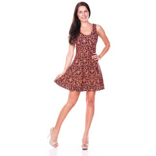 White Mark Women's Paisley Fit-and-Flare Dress