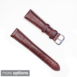 Banda Brown Crocodile Grain Italian Leather Watchband and Stainless Steel Buckle