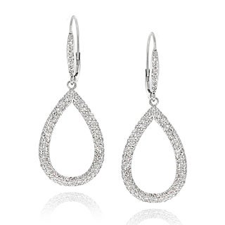 ICZ Stonez Sterling Silver 2.66ct TGW Cubic Zirconia Teardrop Dangle Earrings