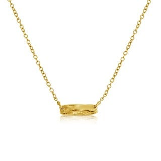 Belcho 14k Yellow Gold Overlay Small Textured Hammered Karma Bar Pendant Necklace