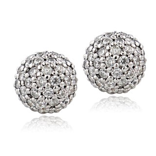 ICZ Stonez Sterling Silver 1 1/2ct TGW Cubic Zirconia Ball Bead Stud Earrings