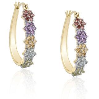 Dolce Giavonna Gold Over Sterling Silver Multi-gemstone Flower Hoop Earrings