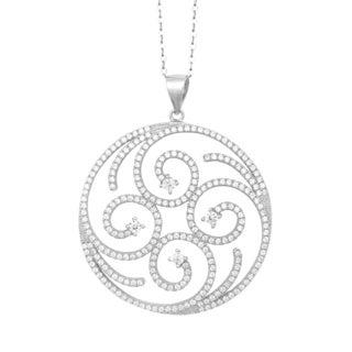 La Preciosa Sterling Silver Micro Pave Cubic Zirconia Swirl Large Circle Pendant Necklace