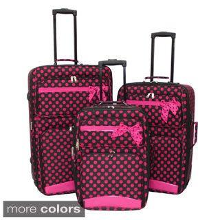 World Sport Ribbon Mini Polka Dots 3-piece Expandable Luggage Set