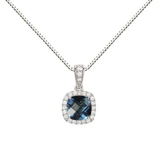 Sterling Silver Swiss Blue Topaz and Created White Sapphire Halo Pendant