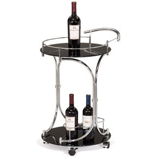 Round Black Glass and Chrome Wine Serving Cart with Gallery