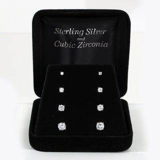 Sunstone Sterling Silver Round-cut Cubic Zirconia Stud Earrings Set with Gift Box