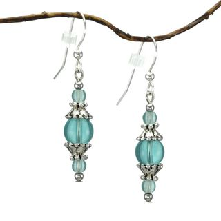 Jewelry by Dawn Round Aqua Glass and Pewter Accent Dangle Earrings