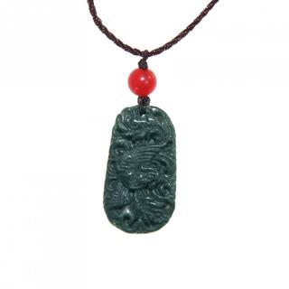 Hand-craved Dark Green Jade Dragon Phoenix Necklace (China)