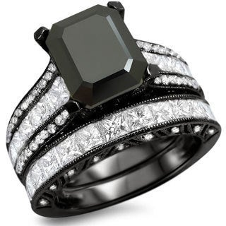 18k Black Gold 5 1/2ct TDW Black Emerald-cut Diamond Bridal Set (F-G, VS1-VS2)