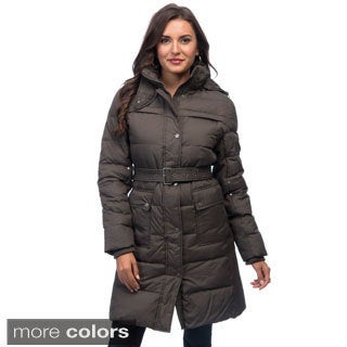 Larry Levine Women's Belted Down-filled Jacket with Removable Hood