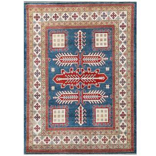 Herat Oriental Afghan Hand-knotted Kazak Blue/ Ivory Wool Rug (5'7 x 7'6)