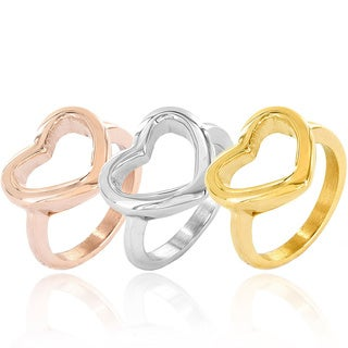 Elya Stainless Steel Open Heart Fashion Ring