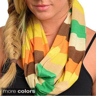 Feellib Women's Colorblock Stripe Knit Infinity Scarf
