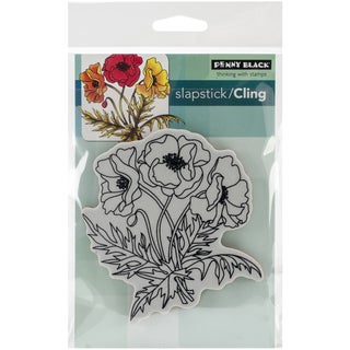 """Penny Black Cling Rubber Stamp 4""""X6"""" Sheet-Poppy Trio"""