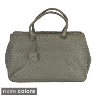 Bottega Veneta Woven Nappa Leather Brick Satchel Handbag