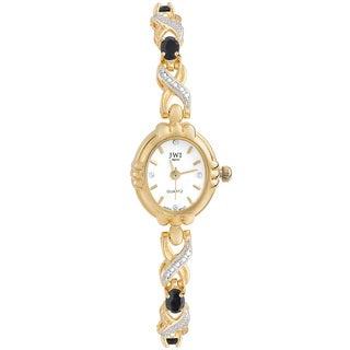 JWI Women's Brass Diamond Accent and Gemstone Watch
