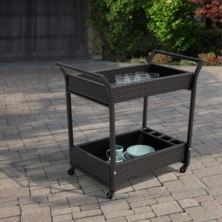 Corvus Sahara Hand-crafted Resin Wicker Outdoor Serving Cart with Glass Top