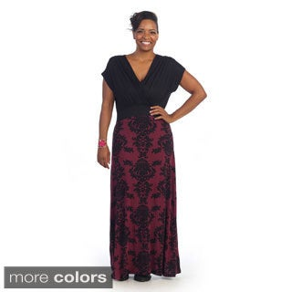 Hadari Woman's Plus Size Two-tone Damask Short Sleeve Maxi Dress