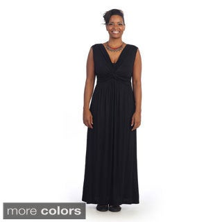 Hadari Women's Plus Size V-neck Sleeveless Maxi Dress