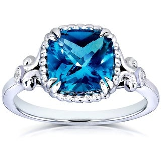 Annello 14k White Goldplated Silver Cushion-cut London Blue Topaz Diamond Accent Ring (G-H, I1-I2)