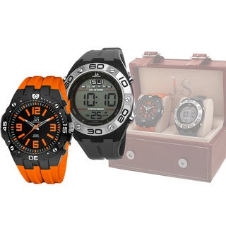 Joshua & Sons Men's Swiss Quartz Digital/Analog Strap Watch Set