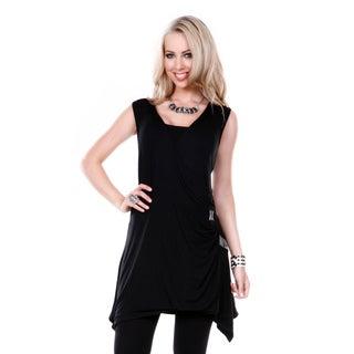 Women's Black Sleeveless Square Neckline Tunic