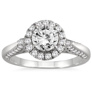 14k White Gold 1 1/4ct TDW Diamond Halo Engagement Ring (I-J, I2-I3)