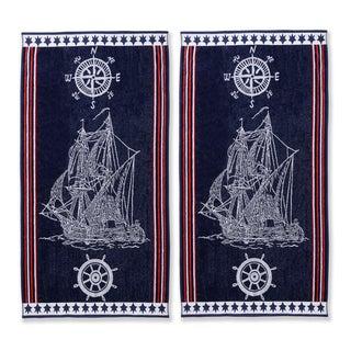 Superior Oversized Cotton Jacquard Beach Towels Ship (Set of 2)
