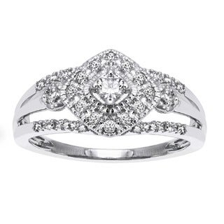 Beverly Hills Charm 10k Gold 1/3ct TDW Diamond Halo Engagement Ring (H-I, SI2-I1)