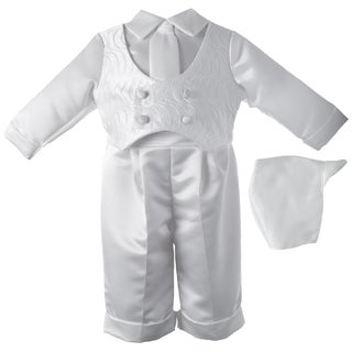 Boys White Christening Baptism/ Special Occasion Satin Long Pant Set