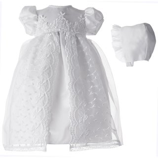 Girls White Long Christening/ Baptism Dress and Hat Set