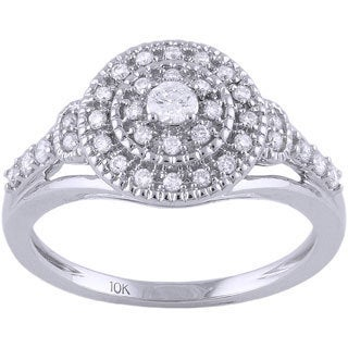 Beverly Hills Charm 10k White Gold 1/3ct TDW Diamond Double Halo Engagement Ring (H-I, SI2-I1)