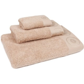 Medallion Button Embroidered 3-Piece Towel Set