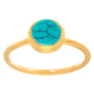 Joli Goldplated Sterling Silver Blue Solitaire Ring (India)