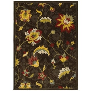 LNR Home Antigua Brown Floral Area Rug (9'2 x 12'6)