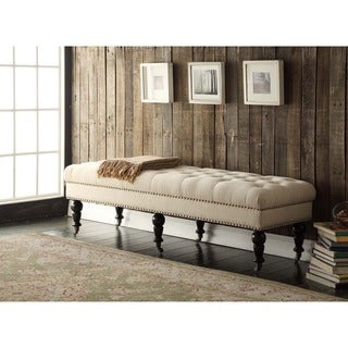 Linon 62-inch Isabelle Linen Fabric Bed Bench